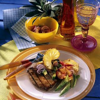 Tuna Steaks with Pineapple and Avocado Salsa.