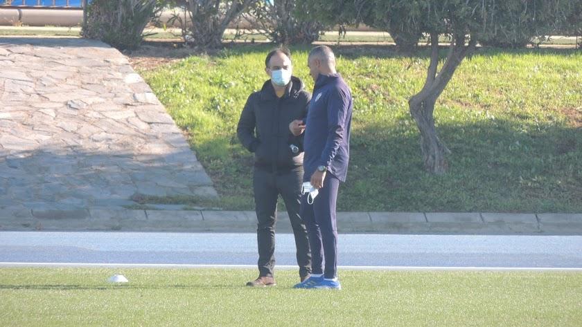 Joao Gonçalves y José Gomes en el entrenamiento de este miércoles.
