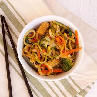 Ginger Garlic Zucchini Noodle Stir Fry.