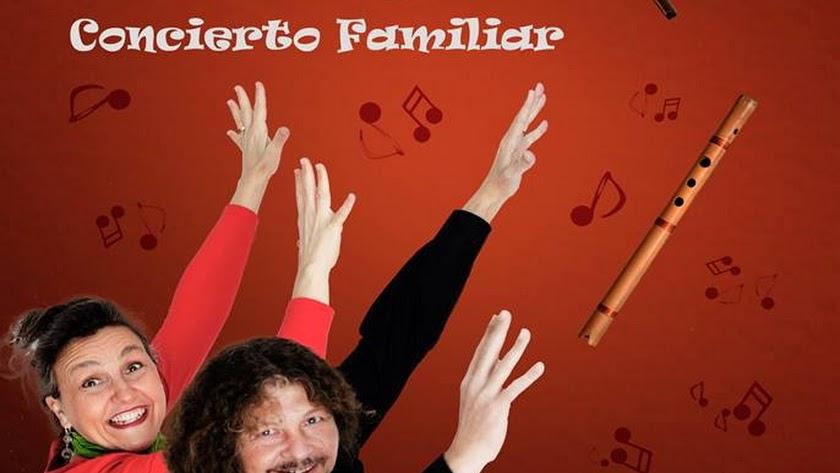 Cartel del concierto didáctico para público familiar en la Biblioteca Villaespesa.