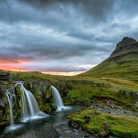 Mount Kirkjufell by Bragi Kort - Landscapes Mountains & Hills ( kirkjufell, iceland, mountain, sunset, waterfall, longexposure )