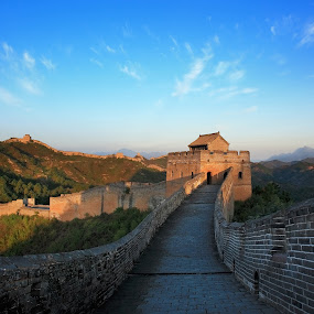 The Great Wall of China by Stanley Loong - Landscapes Travel ( clouds, blue sky, great wall, historical, scenery, morning, travel photography, china,  )