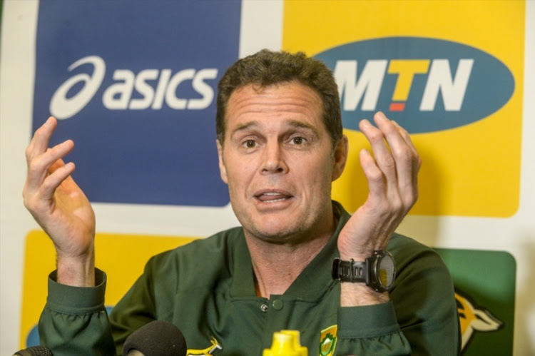 Head Coach Rassie Erasmus of the Springboks during the South African national mens rugby team media briefing at Livorno Room, Tsogo Sun Montecasino on June 04, 2018 in Johannesburg, South Africa.