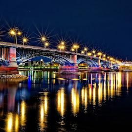 Mainz, Germany by Michaela Firešová - City,  Street & Park  Night ( city, night, lights, colours,  )