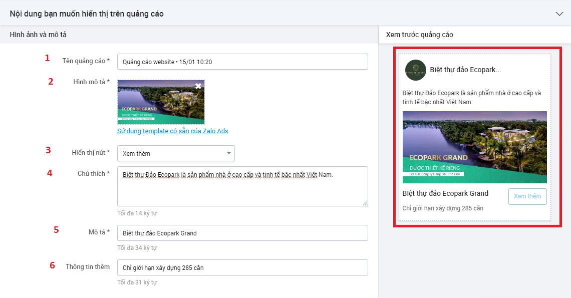 Lên nội dung hiển thị cho quảng cáo website trên Zalo
