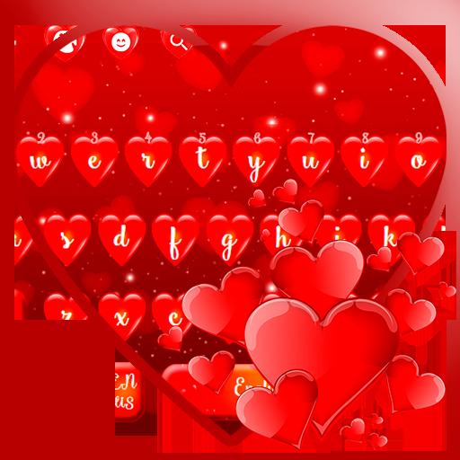 Red Love Heart Keyboard Theme