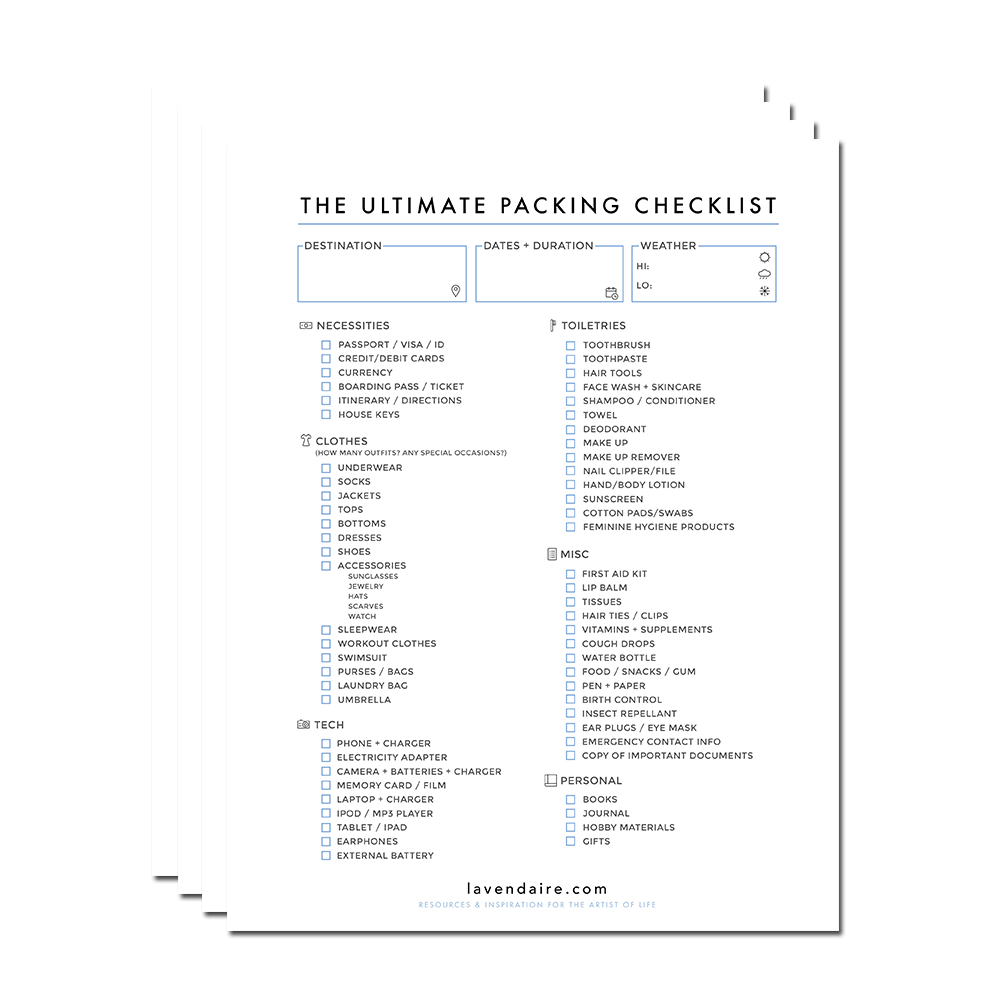 The Ultimate Packing Checklist - Free Download
