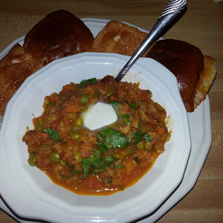 Pav Bhaji (Indian Vegetable Curry on Fried Buns).