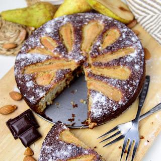 Almond Chocolate Pear Cake.