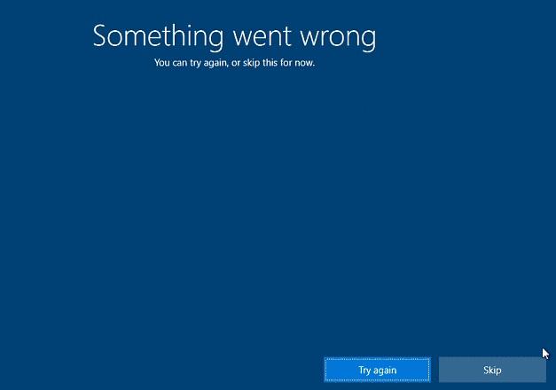 OOBE Error in Windows 10