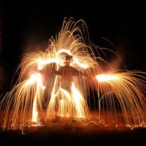 fire man by Mervin Anto - Abstract Fire & Fireworks ( nightlight, pwcfireworks, lightplay, fireman, fireplay, fireworks, light action, fire )