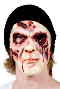 Mask, zombie med hatt och blodiga ögon