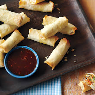 Baked Spring Rolls With Chili Garlic Dipping Sauce.