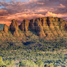 Mountain by Charlie Alolkoy - Landscapes Mountains & Hills ( rock, sky, hill, mountain, arizona, clouds )