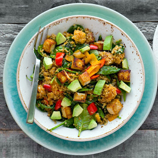 Spicy Southwest Tofu Quinoa Bowl with Medjool Date Lime Dressing.