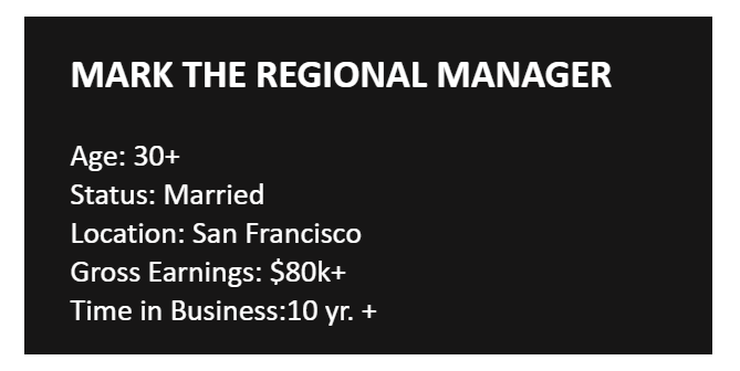 Mark the Regional Manager luxury travel buyer persona example with age, marriage status, earnings, location and business experience