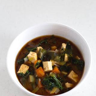 Vegan Miso Soup With Tofu and Kale