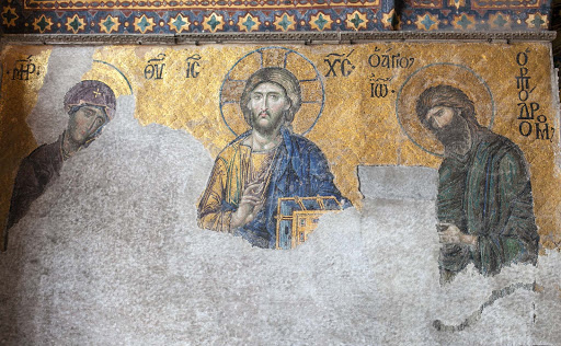 Virgin-Mary-Jesus-John-Baptist-mosaic-c.-1300-Hagia-Sophia.jpg - The Deësis mosaic at Hagia Sophia dates from 1261 and depicts the Virgin Mary and John the Baptist imploring Christ on behalf of humanity on Judgment Day.