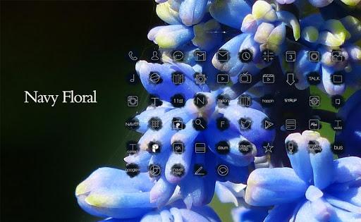Navy Floral 런처플래닛 테마