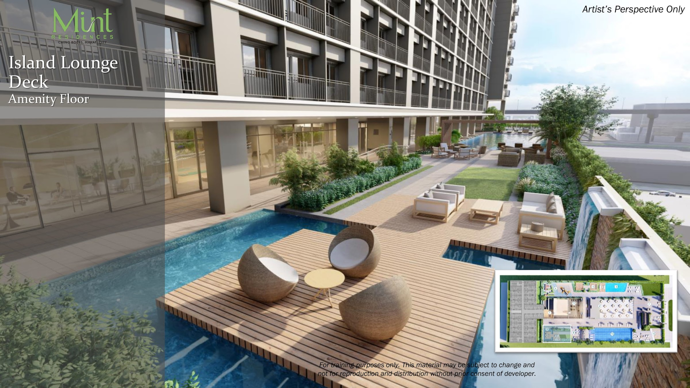 Mint Residences, Chino Roces Makati lounge deck