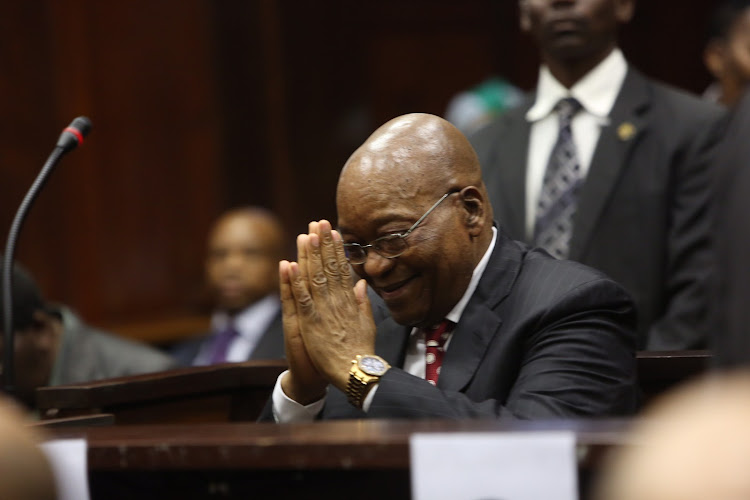 Former president Jacob Zuma appears in the Durban High Court on June 8 2018. He is charged with 16 counts, including fraud' corruption and racketeering.