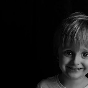 Josh  by Tracey Dobbs - Babies & Children Child Portraits ( child, low key, black and white, low light, smile, boy, portrait )