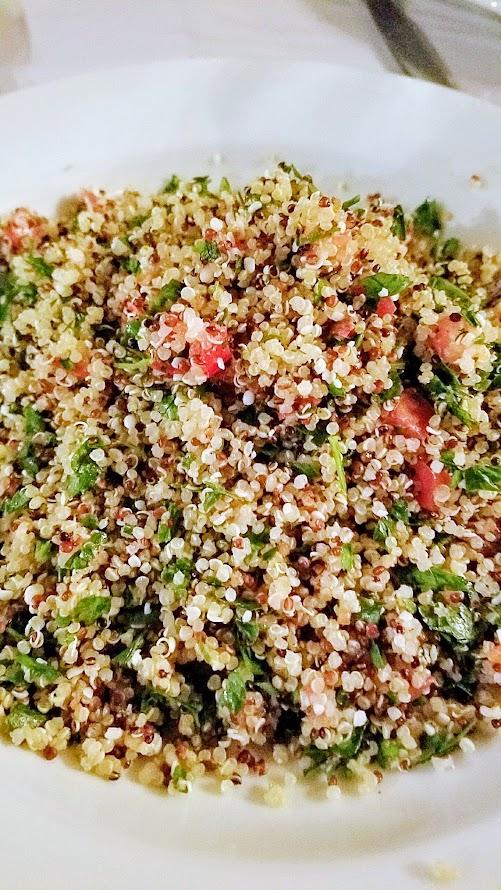 Aviv PDX Pop up course of SHLISHIYT that included this super tabbouleh haze with quinoa, hemp, parsley, tomato, lemon
