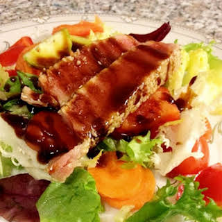A Quick Tuna Salad With Fresh Vegetables And Sweet Soy Dressing.
