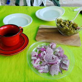snack by Renato Dibelčar - Food & Drink Eating ( red, huawei, green, white, onion, beans, food )