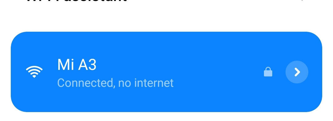Connected, No Internet message