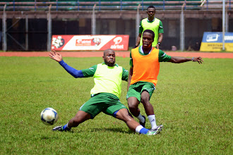 Photo: Ibrahim 'Obrey' Kargbo and George Davis [Leone Stars Training Camp in advance of Tunisia Game, June 2013 (Pic: Darren McKinstry)]