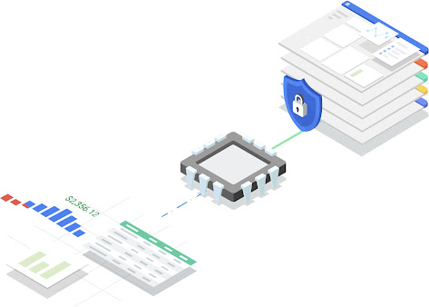 Thumbnail image with a stack of web pages in the cloud with a locked padlock in front on line to a computer chip which is connected to 3 spreadsheets of data