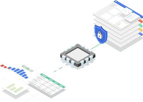 Miniature montrant une pile de pagesWeb dans le cloud précédée par un cadenas verrouillé. Ces éléments sont alignés avec une puce informatique reliée à troisfeuilles de calcul de données.