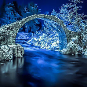 Winter Fairytale Bridge by Gordon Bain - Buildings & Architecture Bridges & Suspended Structures ( carrbridge, -8c, winter, scotland )
