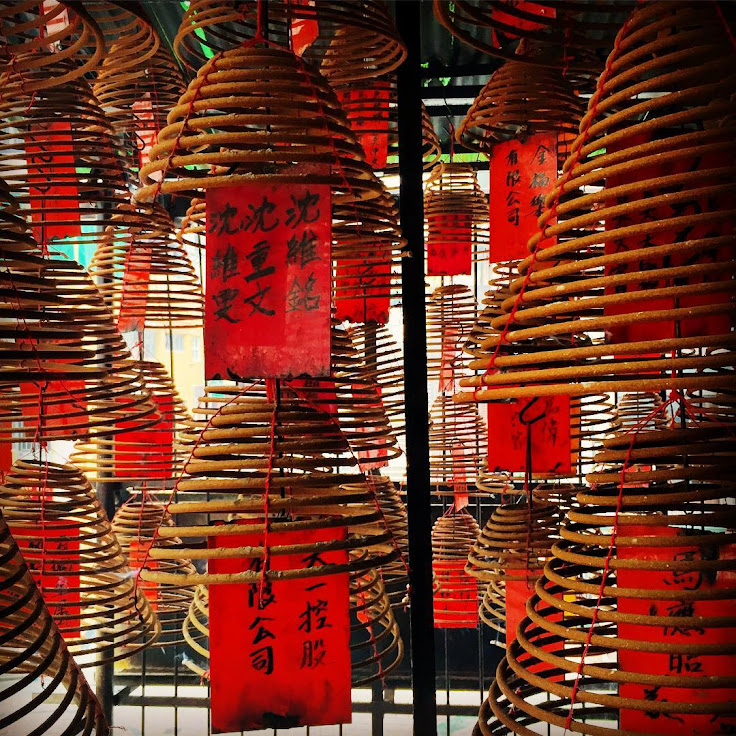 Coils of incense in the Pak Sing Ancestral Hall.