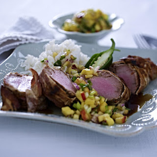 Marinated Pork Tenderloin with Mango and Nectarine Salsa.