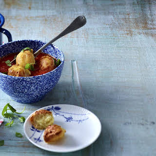 Tomato Soup with Cheese Fritters.
