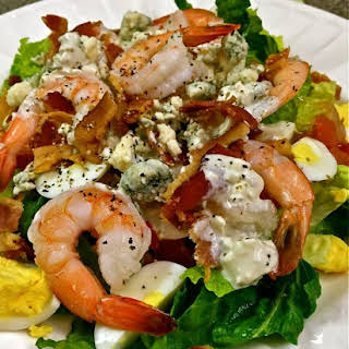 Shrimp Cobb Salad with Blue Cheese Dressing.