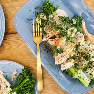 Rachael's Chicken Mornay with Broccolini on Toast Points.