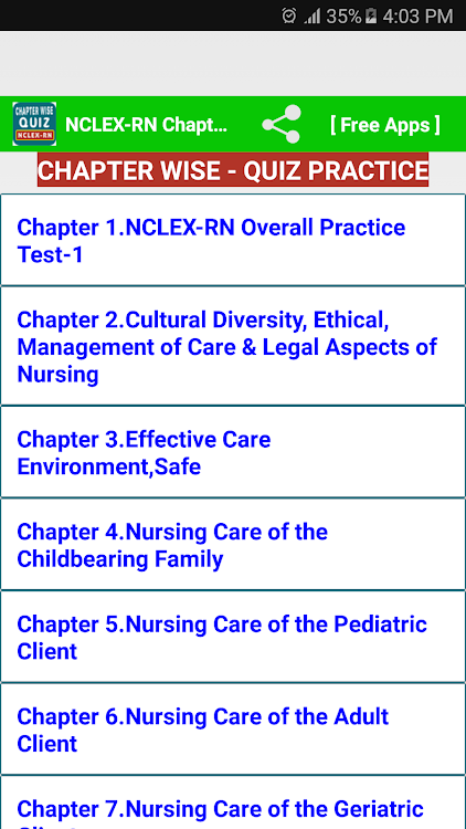 Nclex RN free chapter wise quiz – (Android Apps) — AppAgg