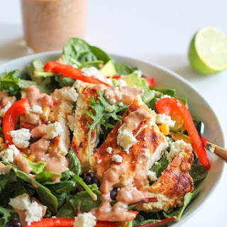 Hummus Marinated Grilled Chicken Salad with Hummus-Salsa Dressing