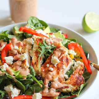 Hummus Marinated Grilled Chicken Salad with Hummus-Salsa Dressing.