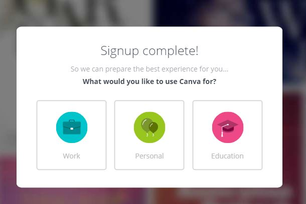 Canva sign up completed