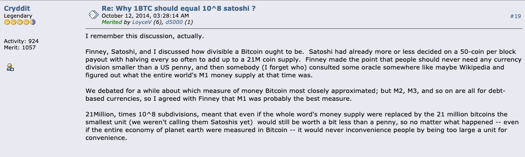 BitcoinTalk: Cryddit (Ray Dillinger) describes his discussions with Satoshi and Hal Finney about the 21M limit