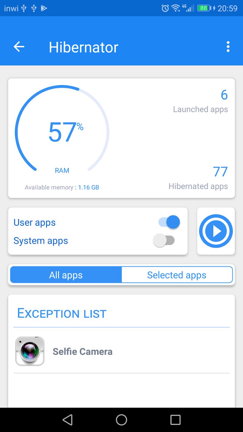 Hibernator -  Hibernate apps & Save battery Screenshot