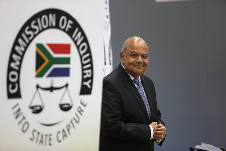 Pravin Gordhan says he believes former Sars commissioner Tom Moyane's personal goals while he was commissioner included the advancement of the state capture project.