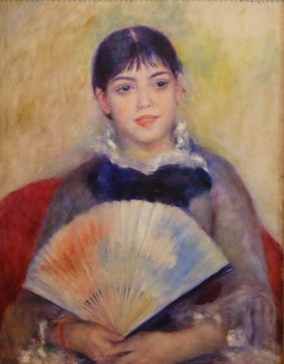 "auguste-renoir-young-woman-with-fan.jpg -  Auguste Renoir, ""Young Woman With a Fan,"" 1880, oil on canvas."