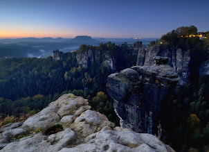 """Photo: This is another version from """"Sunny Morning"""" taken 1 hour early. Bastei in gorgeous """"blue hour"""" glow. It was not this weekend ;)  #MountainMonday curated by +Michael Russell"""