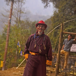 Smiling Warrior  by Arnab Bhattacharyya - People Portraits of Men ( religion, warrior, monk, india, buddha, sikkim )