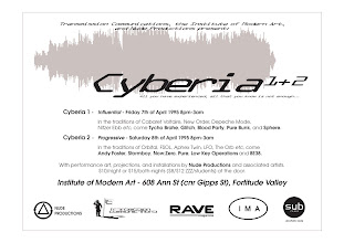 Photo: Advertisement for Cyberia event. Design by Dennis Remmer.